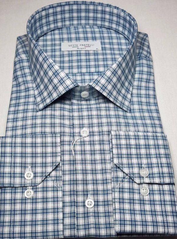 Blå och vitrutig herrskjorta i bomullskvalitet.