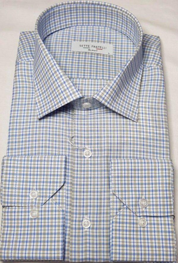 Blå, brun och vitrutig herrskjorta i bomullskvalitet.