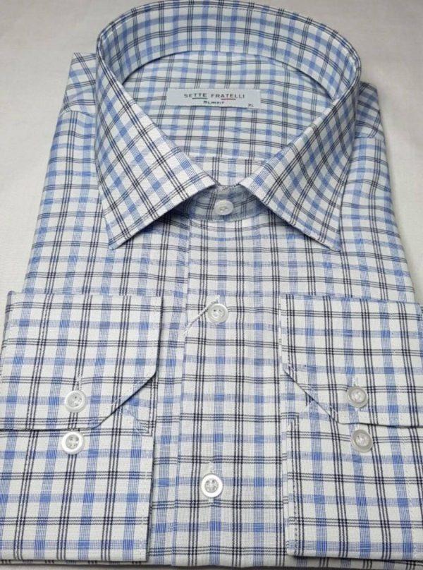 blå, vit och svartrutig herrskjorta i bomullskvalitet.