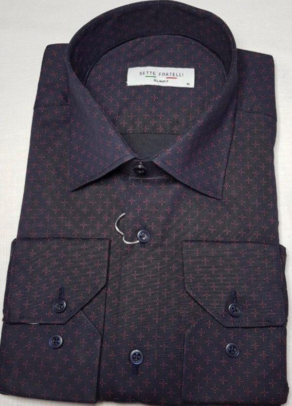 Mörkblå herrskjorta med rosa mönster